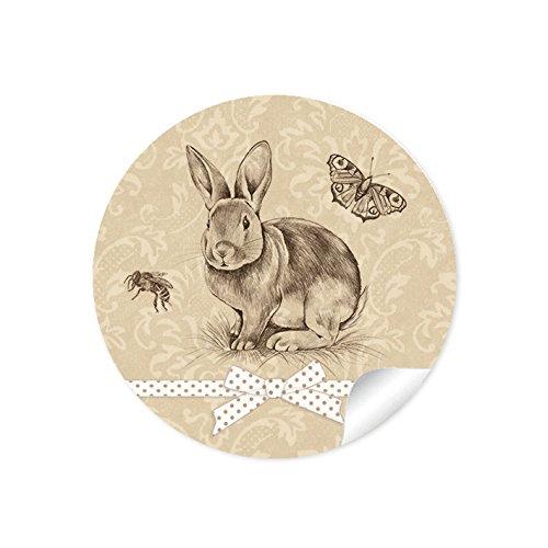 24 STICKER: 24 Retro Aufkleber zu Ostern (A4 Bogen) im Vintage Style in beige/ creme mit einem süßen Häschen, Biene, Schmetterling und grafischer Geschenkschleife für schöne Ostergeschenke • Papieraufkleber / Sticker / Aufkleber / Etiketten (Format 4 cm, rund, matt )