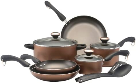 Paula Deen Signature Dishwasher Safe Nonstick 11-Piece Cookware Set, Copper