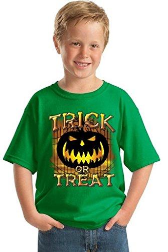 Youth Halloween Shirt Trick Or Treat T-Shirt Jack-O-Lantern Costume for Kids XL Green
