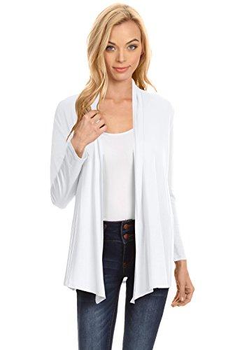 Simlu Womens Open Drape Cardigan Reg and Plus Size Cardigan Sweater Long Sleeves - -