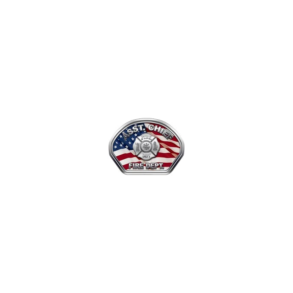 Firefighter Fire Helmet Front Face Assistant Chief American Flag Decal Reflective