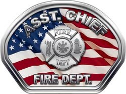 (Firefighter Fire Helmet Front Face Assistant Chief American Flag Decal)
