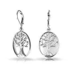 Pearl Tree of Life Leverback Dangle Earrings 925 Silver