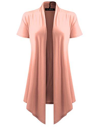 ALL FOR YOU Women's Soft Drape Cardigan Short Sleeve Light Peach ()