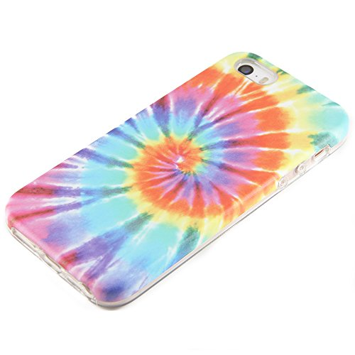 uCOLOR Tie Dye Compatible for iPhone SE 5S 5 Protective case for Girls Hard PC + Soft TPU Tough Case for iPhone SE 5S 5 (Tye Dye Phone Case)