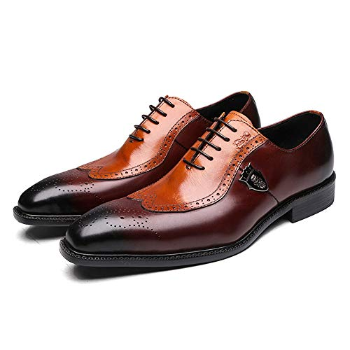 Felix Chu Men's Modern Classic Dress Shoes Men Oxfords Shoes for Men Handmade Leather Shoes Brogue Lace up Men - Brown Dress Shoes Italian Style
