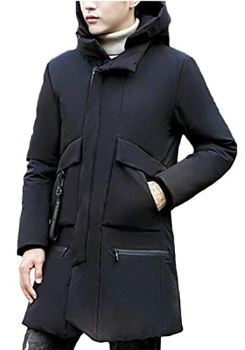 Men's security Down Thick Coat Hooded Quilted Zipper Jacket Black nFTfHxwpF