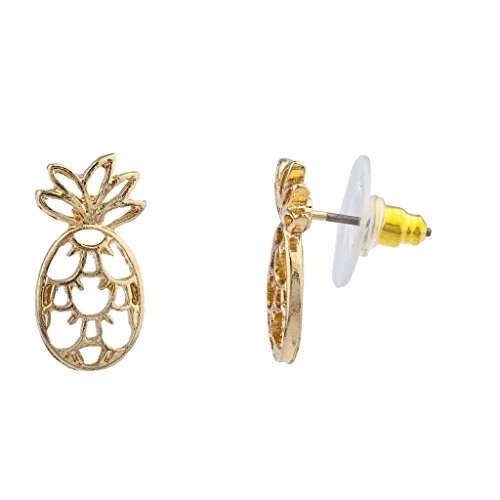 Lux Accessories Gold Tone Cut Out Tropical Fruit Pineapple Stud Earrings (Cut Out Tone Gold)
