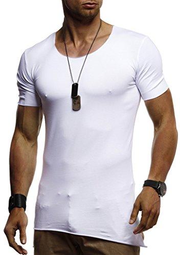 Leif Nelson Herren Sommer T-Shirt Rundhals-Ausschnitt Slim Fit Baumwolle-Anteil Moderner Männer T-Shirt Crew Neck Hoodie-Sweatshirt Kurzarm lang LN1455