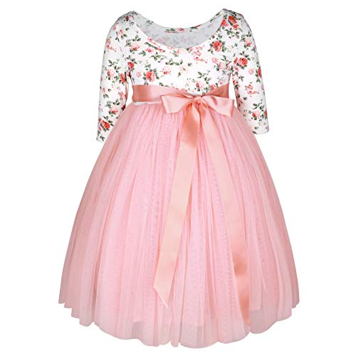 Flofallzique Vintage Floral Long Sleeve Maxi Girls Easter Dress V Back for 1-12 Years Old (12, Peach Pink)