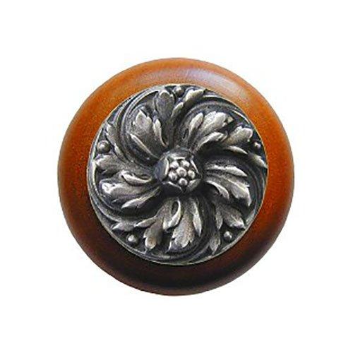 Notting Hill Decorative Hardware Chrysanthemum Wood Knob, Antique Pewter, Cherry wood finish