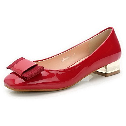 AalarDom Womens Patent Leather Square Toe Pull-On Low-Heels Pumps-Shoes with Bowknot Red