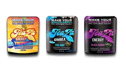 Teaza Energy 3 Pack Tropical, Chill Cool Mint Relora and Black Cherry Smokeless Tobacco Dipping Alternative Individual Cold Brew Tea (Cool Mountain Mint Tea)