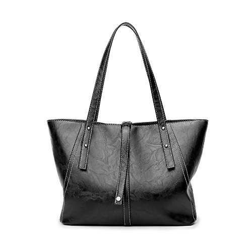 Tisdaini Dama bolso de mano PU piel Moda grande capacidad bolso bandolera Chica Moda bolso Negro