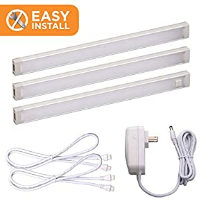 Black+Decker LED Under Cabinet Lighting Kit, 3-Bars, 9 Inches Each, DIY Tool-Free Installation, Warm White, 2700K, 1080 Lumens, 15 Watts, Home Accent Lighting (LEDUC9-3WK)