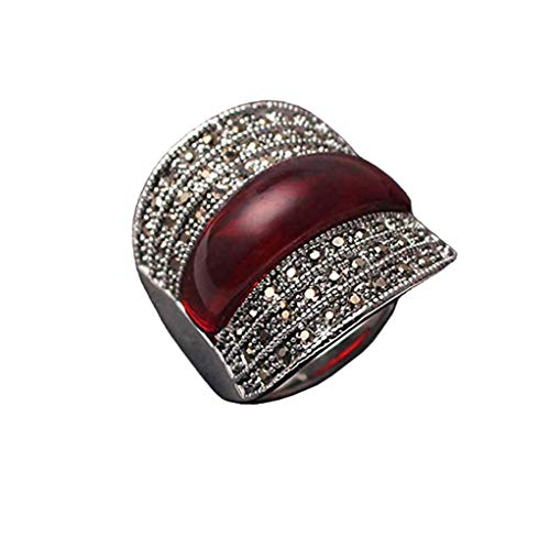 Yfnfxl Women's Vintage Red Resin Marcasite Crystal Big Statement Stainless Steel Cocktail Rings (red, 7)