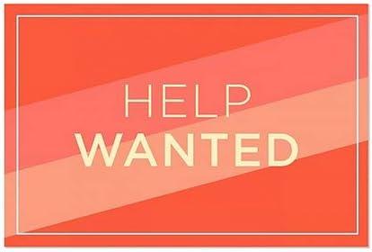 Help Wanted 36x24 CGSignLab Modern Diagonal Window Cling 5-Pack