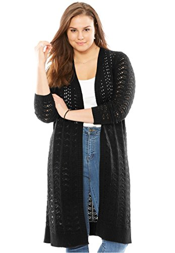 Woman Within Women's Plus Size Pointelle Cardigan Sweater Duster Black,1X (Knit Top Pointelle)