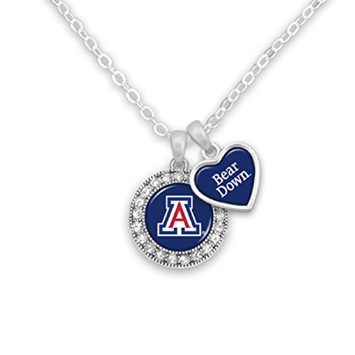 FTH Silver Tone Necklace Featuring an Arizona Logo and a Heart Shaped Charm