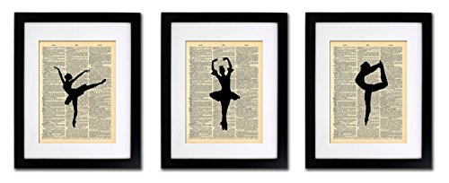 Dance Art Print - Ballerina Dancers - 3 Print Set - Vintage Dictionary Print 8x10 Home Vintage Art Abstract Prints Wall Art for Home Decor Wall Decorations For Living Room Bedroom Office Ready-to-Frame 3