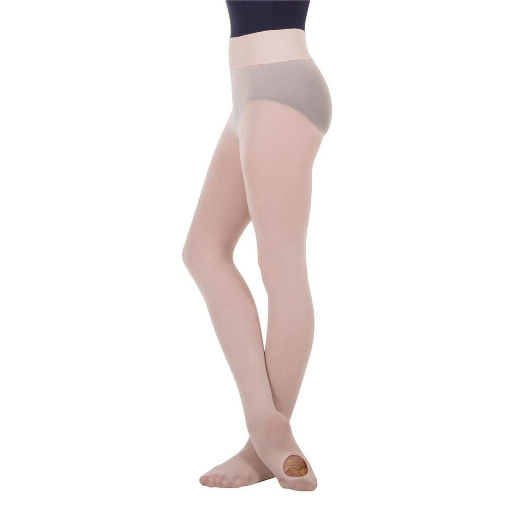 BodyWrappers Girl's Wide Smooth Waist Convertible Tights (Dance Pink, Medium/Large) - C41 by Body Wrappers