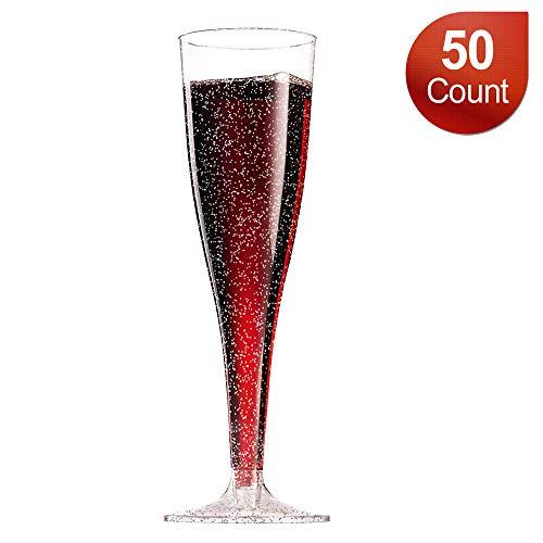 Disposable Champagne Flutes/Plastic Champagne Glasses - 50 Count 5oz Silver Glitter Plastic Classicware Glass Like Champagne
