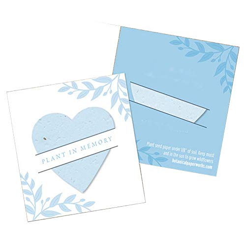 (Light Blue Plantable Heart Memorial Mini Slot Cards - 2-1/2 x 2-3/4in. (25))