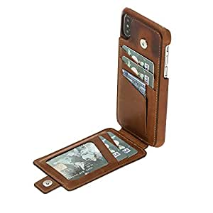 Burkley Genuine Leather Snap-on Case with Attached Bifold Wallet for Apple iPhone X | Magnetic Flip Closure with Card Holders | Hand-wrapped in Premium Turkish Leather (Burnished Tan)