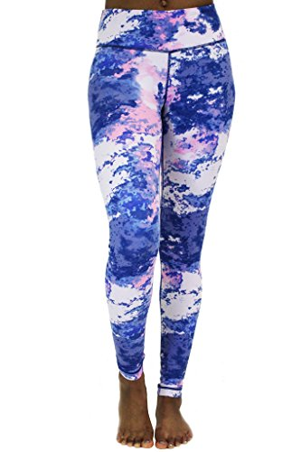 90 Degree by Reflex - Performance Activewear - Printed Yoga Leggings Print 282 Dreamer Pink XL