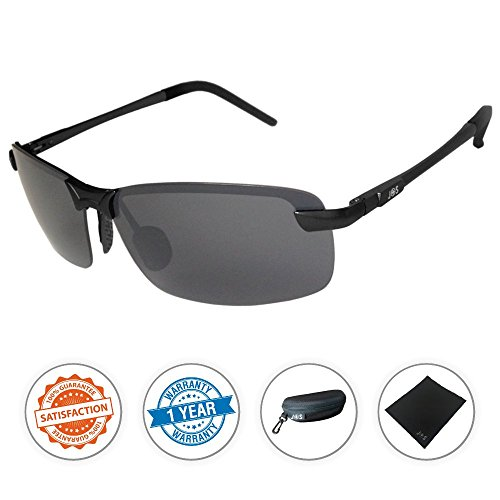 J+S Ultra Lightweight Men's Rimless Sports Sunglasses, Polarized, 100% UV protection - (Wide Frame - Black Frame / Black - Sunglasses 100%