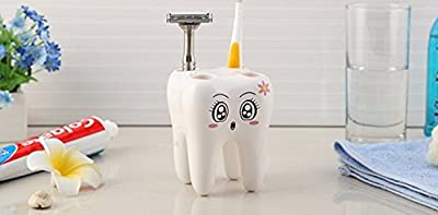 Money coming shop Cartoon Toothbrush Holder,Teeth Style 4 Hole Stand Tooth Brush Shelf Bathroom Accessories Sets,Bracket Container For Bathroom