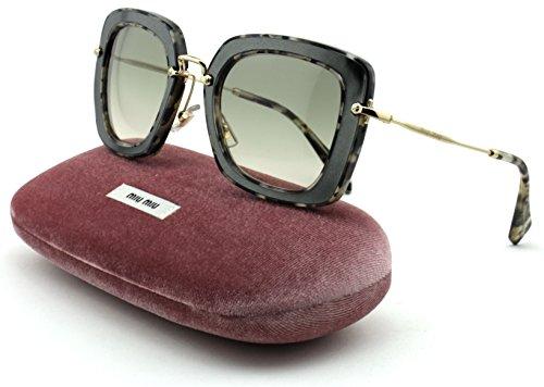 Miu Miu MU 07OS Women Pillow Sunglasses (Marble White Black Frame, Beige Gradient Lens DHE/3H2)