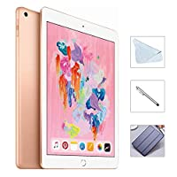 Apple iPad 6th Gen 128GB (2018 Model) w/Saiborie 49 Value Accessories, Wi-Fi Only, 9.7'' Retina Display, A10 Fusion chip, Touch ID, Apple Pay, Night Shift (Gold)