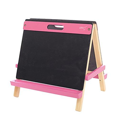 子供スケッチパッドソリッドウッドイーゼル3-13歳の赤ちゃんライティングボードパズルキッズおもちゃ絵画ディスプレイホルダー (色 : Pink)