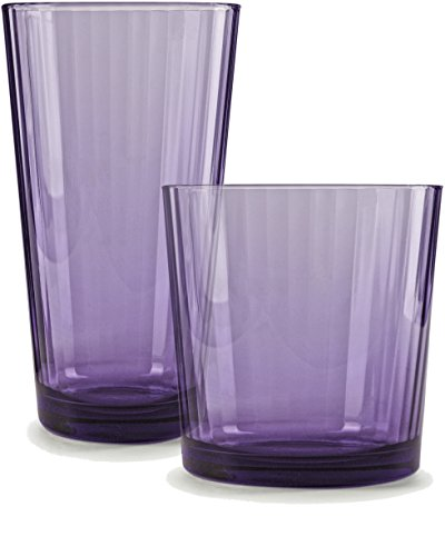 Stein Oz Plastic 14 (Circleware 44816 Spectrum Plum Huge Set of 16 Drinking Glasses, 8-17oz and 8-13oz. Double Old Fashioned Whiskey, 16 pc set)