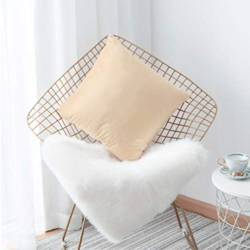 HOME BRILLIANT Deluxe Velvet Euro Pillow Shams Large Throw Pillow Cushion Cover for Sofa Toddler Floor, 26 x 26 Inch (66cm), Beige (Colorful Euro Sham Cover)