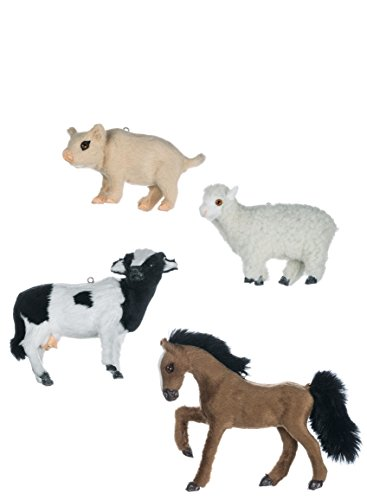 Sullivans Fluffy Faux Fur Farm Animals Christmas Ornaments, Set of 12 in 4 Styles, 3.25