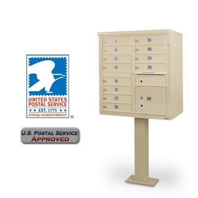 Mailbox Door Commercial - Universal 12-Door F-Spec Cluster Box Unit with Pedestal Sandstone