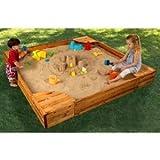 Kid's Outdoor Wooden Sandbox with Corner Seating