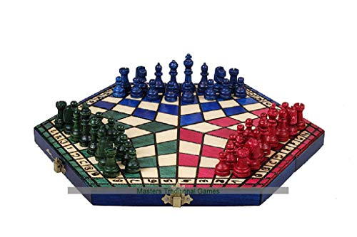 3 Player Chess Set – Large 54cm Hexagonal Board with Edge Numbers (Red, Green and Blue)