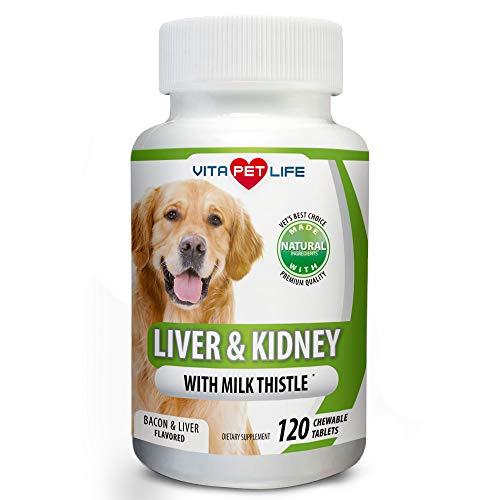 Vetri Liver (Milk Thistle Liver, Kidney and Bladder Support for Dogs, Detox, DHA, EPA, Hepatic Support, Dandelion Root, Omega 3 Fish Oil, Vit B1,B2,B6,B12, Kidney Stone Prevention.120 Natural Chew-able Tablets.)