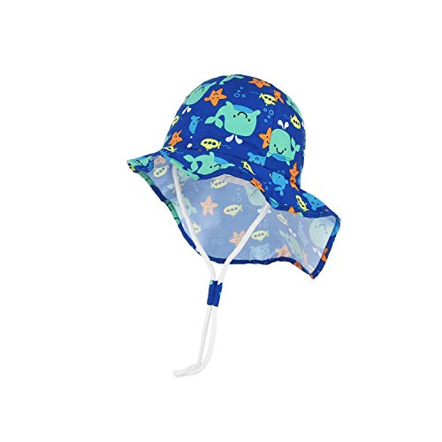 Summer Child Sun Hat Cute Sea Animal Print Blue Bucket Hat for Kids Long Brim Neck Protection,48cm ()