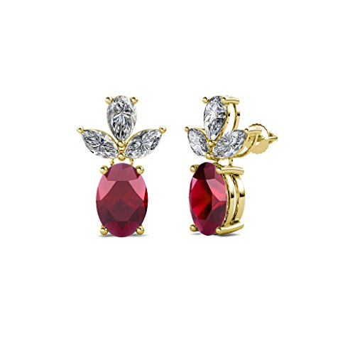 Oval Ruby and Diamond (SI2-I1, G-H) Dangling Stud Earrings 2.51 Carat tw in 14K Yellow Gold by TriJewels