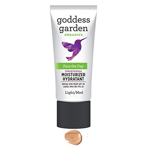 Goddess Garden Tinted Face the Day Daily Mineral SPF 30 Firming Moisturizer for Sensitive Skin (1 oz. Bottle) in Light/Medium, Reef Safe, Non-Nano, Water Resistant, Vegan, Leaping Bunny Cruelty Free