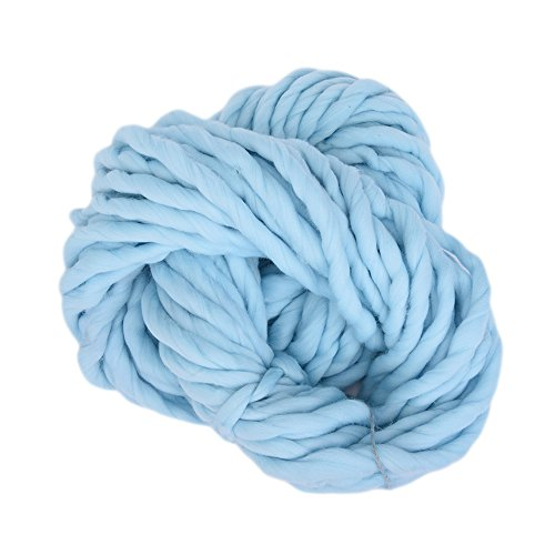 Fun Fur Scarf Pattern (2 pcs Soft Wool 100% Roving Bulky Thick Big Yarn Spinning Hand Knitting Thread Crochet Yarn for Hat Scarf Knitting (Blue))