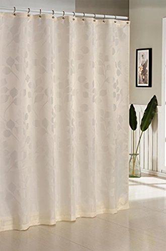 Pleated Fabric Shower Curtain (Premium Jacquard Mildew Resistant Fabric Shower Curtain With Floral Pattern 70-inches by 72-Inches - Assorted Colors - Ivory)