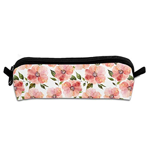 (Floral Peach Rhapsody Printing Portable Pen Holder Stationery Pencil Pouch Cosmetic Bags)
