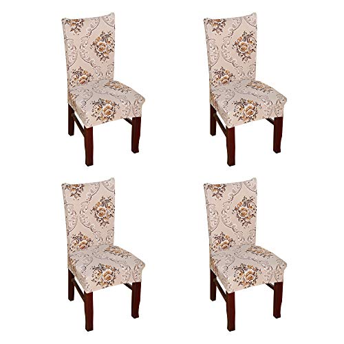 (Argstar 4 Pack Chair Slipcovers for Dining Room Spandex Protector Covers for Kitchen Classical Patterned X_08)