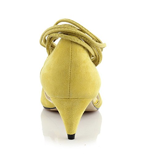 Sandals Solid Womens Up Lace Heels Toe Frosted Pointed Citrine Kitten AmoonyFashion OAwRTqR