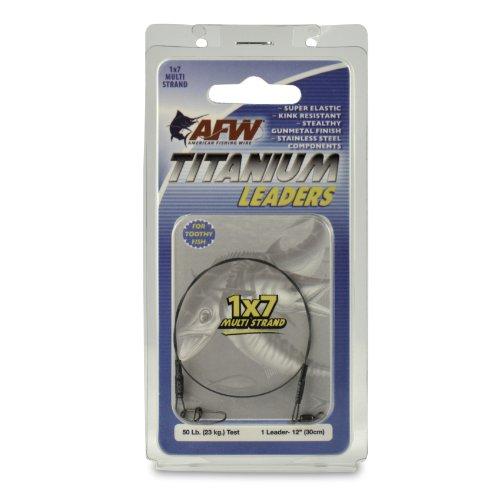(American Fishing Wire Titanium Multi Strand Leader, Black, 50 Pound Test, 12-Inch)